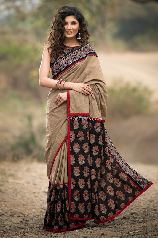 Beige Cotton Block Print Saree