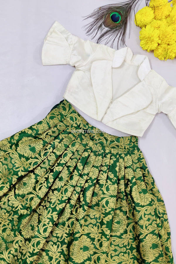 Green Banarasi Skirt With Silk Skirt