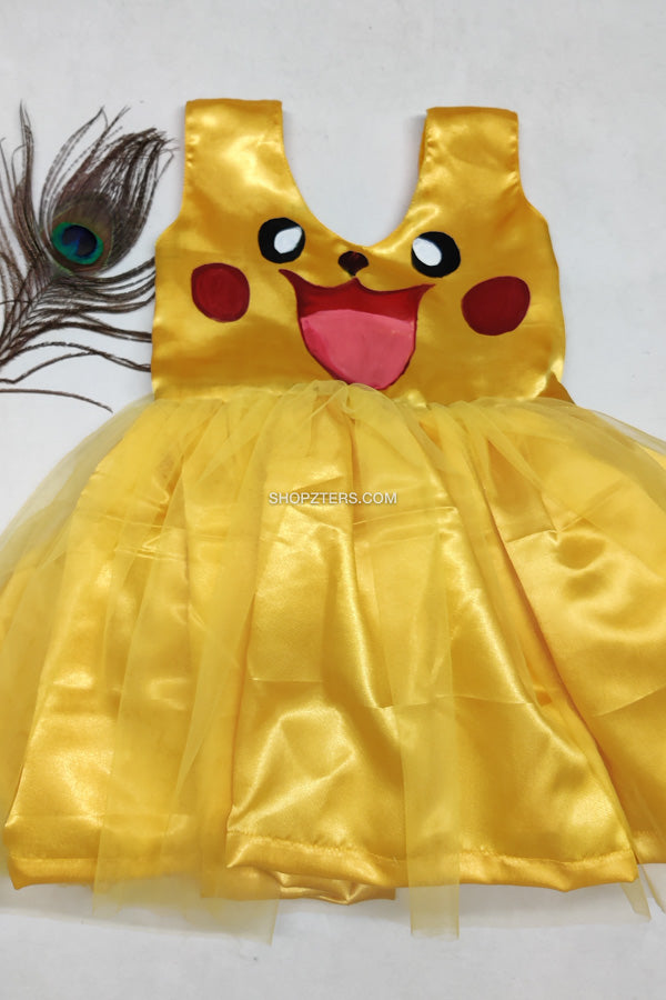 Yellow Satin Pikachu Frock