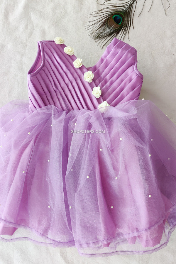 Lavender Dress With Double Layer Net