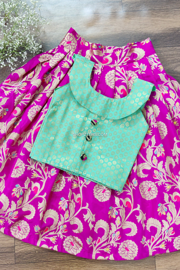 Pink Banarasi Skirt With Boat Neck Top