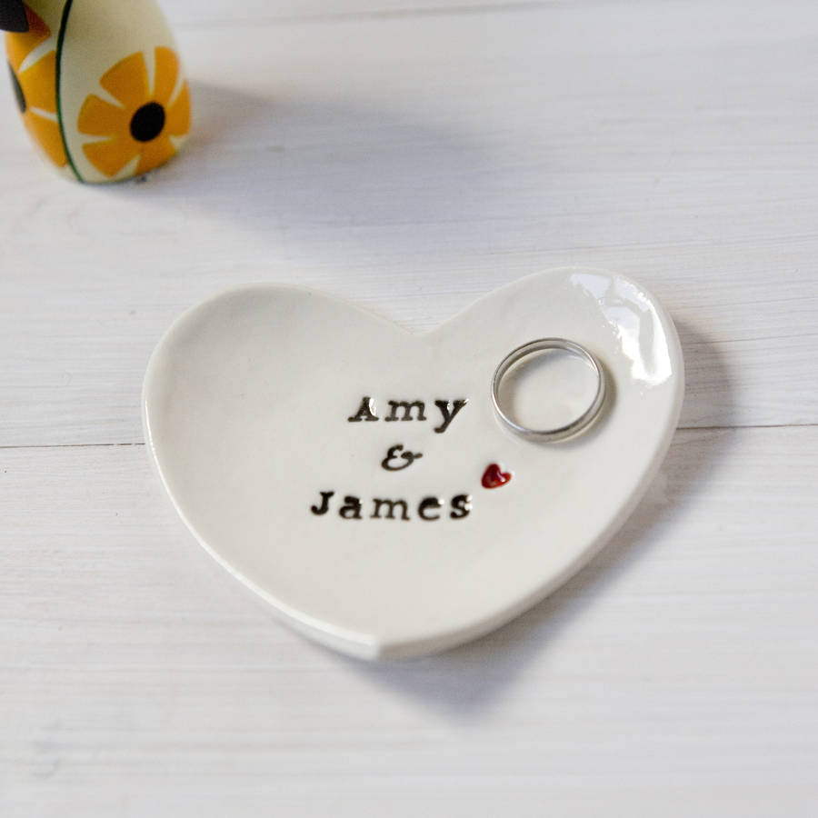 An engraved dish for your engagement rings.