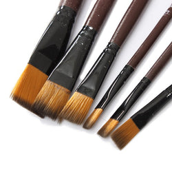 6 Pce Brown Tip Nylon Paint Brushes