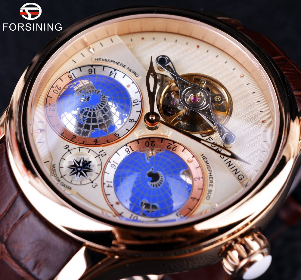 Forsining Earth Real Tourbillion Rose Gold Classic Watch