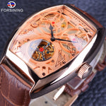 Forsining Rose Gold Open Work Skeleton Watch