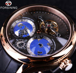 Forsining Earth Real Tourbillion Black and Gold Watch