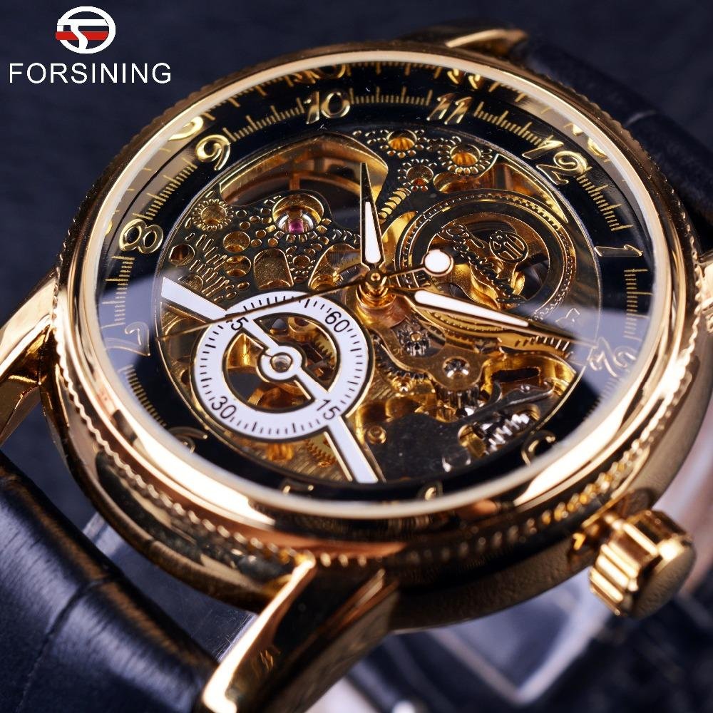 Forsining Black and Gold Hollow Engraving Skeleton Watch