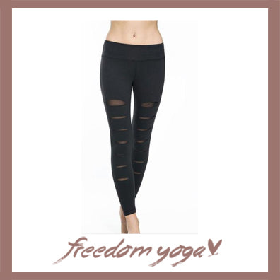 Black legging Yoga pants - Torn pattern