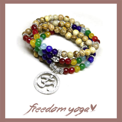 Bracelet in natural stones Om - 7 Chakras pattern