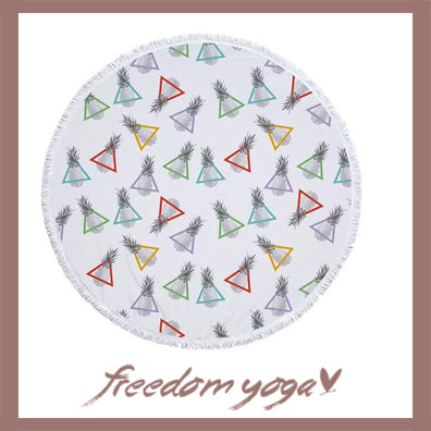 Round Yoga Towel - Fruits Pineapple Printed pattern
