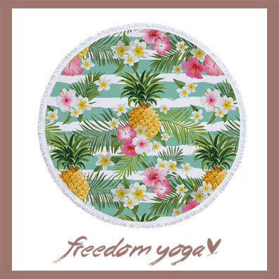 Round Yoga Towel - Pineapple Printed pattern