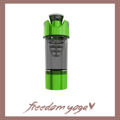 Yoga Water Bottle Shaker for Fitness and Yoga - Green
