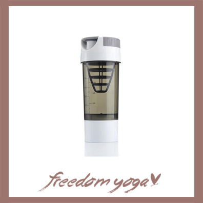 Yoga Water Bottle Shaker for Fitness and Yoga - White