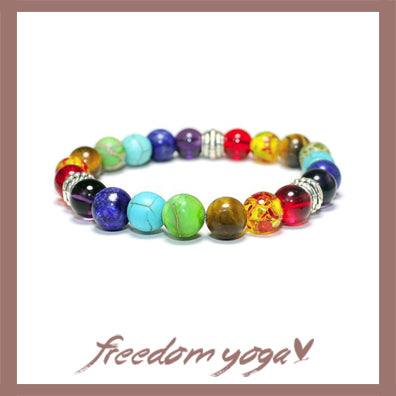 Bracelet in natural stones - 7 Chakras pattern