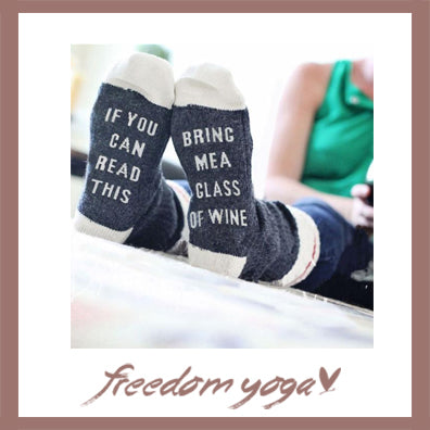 Yoga socks - Bring me a glass of wine pattern
