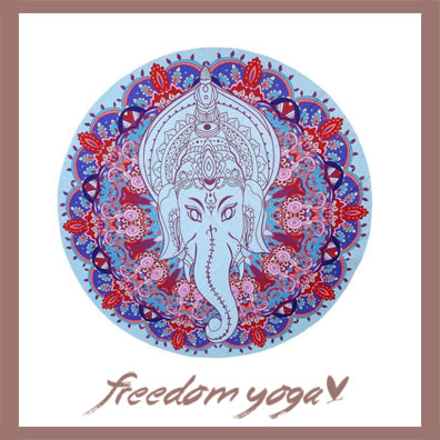 Round Yoga Towel - Elephant Indian Mandala pattern
