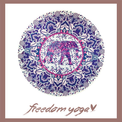 Round Yoga Towel - Purple Elephant pattern