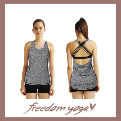 Yoga Shirt - Strappy Back CrissCross - Grey