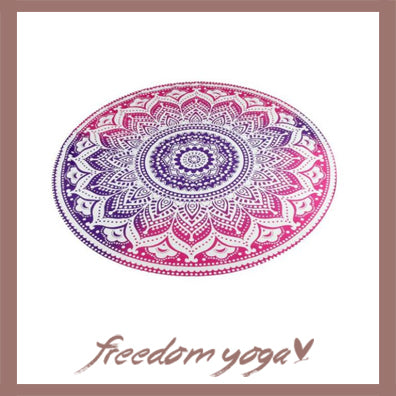 Round Yoga Towel - Purple Mandala pattern