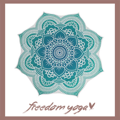 Round Yoga Towel - Blue Lotus Canvas pattern Style Jacquard