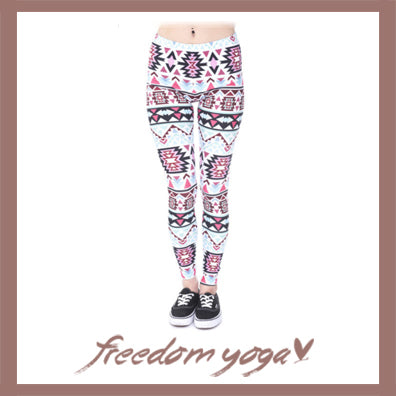 Legging Yoga pants - Aztec White pattern