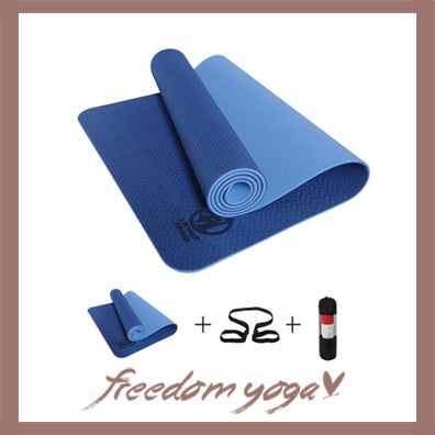 Yoga mat for Yoga pro - Blue pattern - Free Storage and Strap