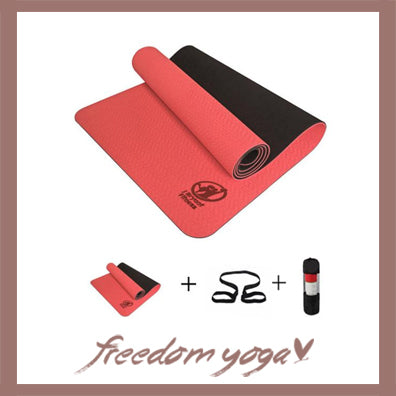 Yoga mat for Yoga pro - Orange pattern - Free Storage and Strap