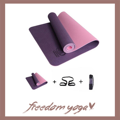 Yoga mat for Yoga pro - Purple pattern - Free Storage and Strap