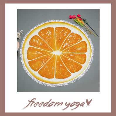 Round Yoga Towel - Orange Fruit pattern