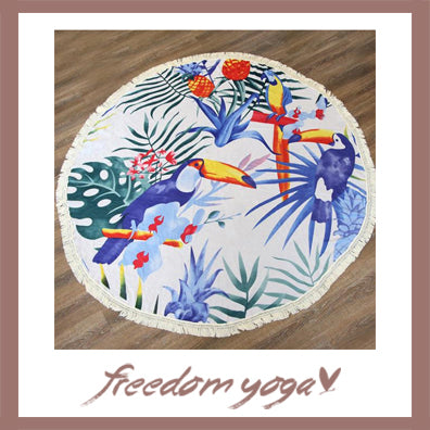 Round Yoga Towel - Seaside pattern