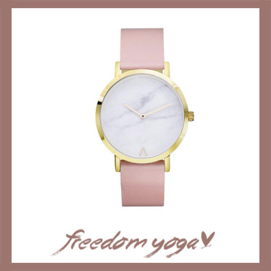 Watch in Metal bracelet for Yoga exercisers - Marbre pattern