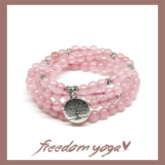 Triple Bracelet in Pink stones - Tree of Life pattern