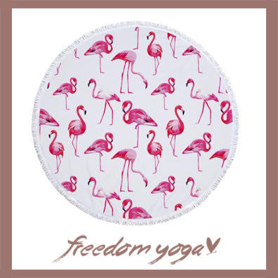 Round Yoga Towel - Flamingo Printed pattern