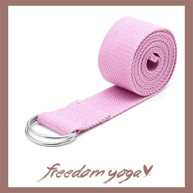 Yoga strap for Yoga poses or fitness - D-Ring Pink pattern
