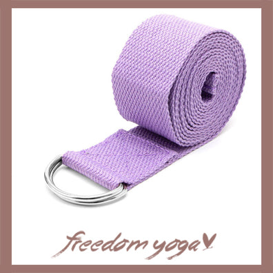 Yoga strap for Yoga poses or fitness - D-Ring Purple pattern