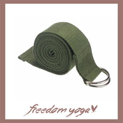 Yoga strap for Yoga poses or fitness - D-Ring Green pattern