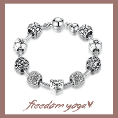 Bracelet Classic in Crystal - Antique Silver Charm pattern