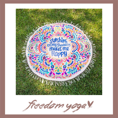 Round Yoga Towel - Sunshine pattern