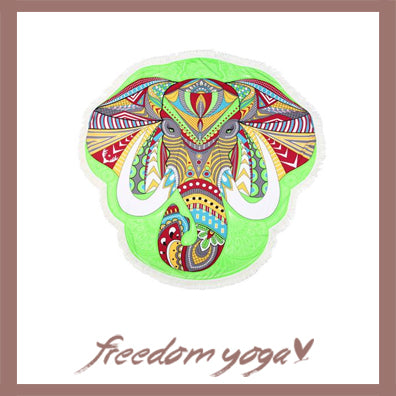 Round Yoga Towel - Multicolour Elephant Lotus Canvas pattern