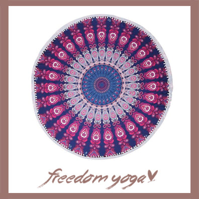Round Yoga Towel - Purple Lotus Canvas pattern