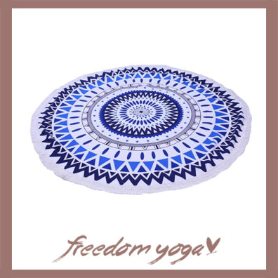 Round Yoga Towel - Blue Lotus Canvas pattern