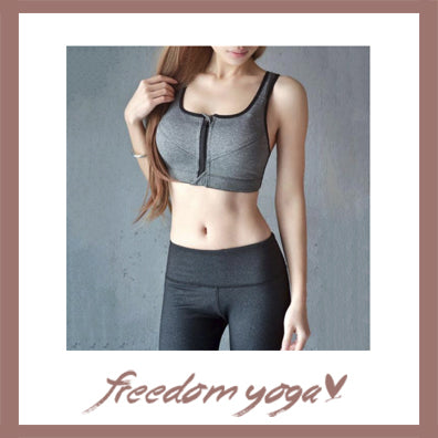 Yoga Tank Top - Top Cross Zipped - Grey color