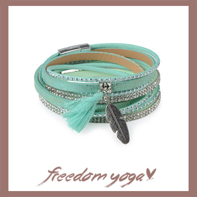 Bracelet Trendy - Rhinestone Feather Wide Multilayer pattern