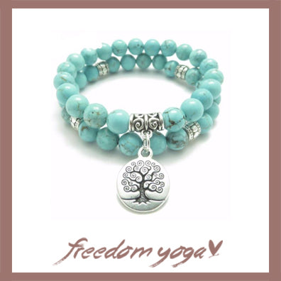 Double Bracelet in Turquoise stones - Tree of Life pattern