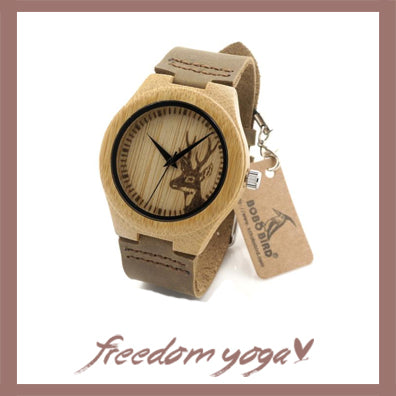 Watch in Natural Bamboo for Yoga exercisers - Cerf pattern