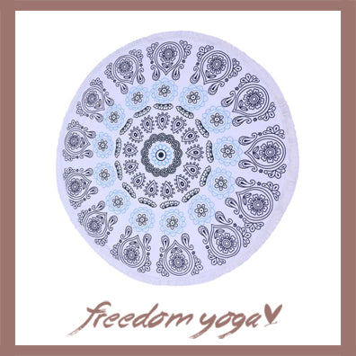 Round Yoga Towel - Purple Indian Mandala