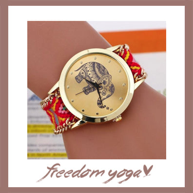 Woven Watch for Yoga exercisers - Sacred Elephant pattern