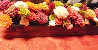 Thanksgiving Dried Floral Arrangement in a Long Wood Box