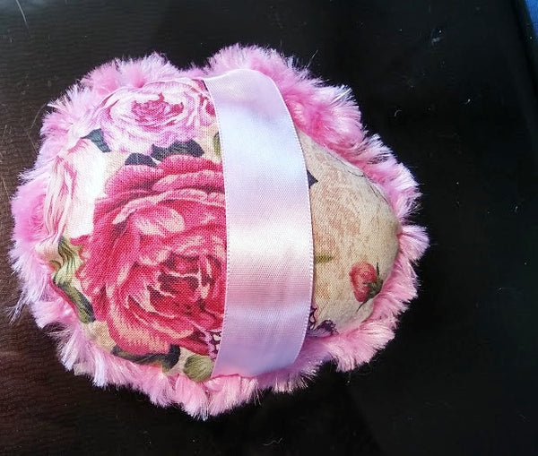 "Victorian Roses Rose Pink Body Powder Puff - Large 4 1/2 - 5"" inch size - 3 Colors To Choose From"
