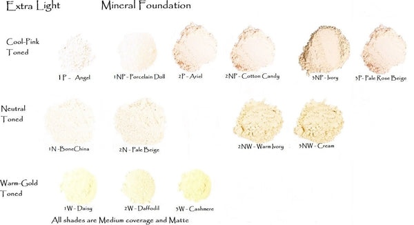 Med Size Mineral Foundation Palest Porcelain shades to Deep Umber - 20gm Pot